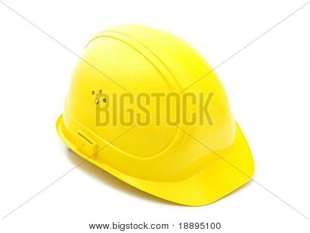 yellow helmet on white background