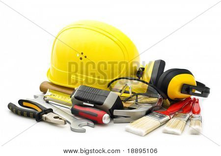 working tools on white background