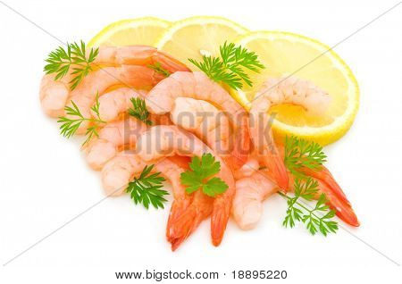 parsley,lemon and shrimps on white background