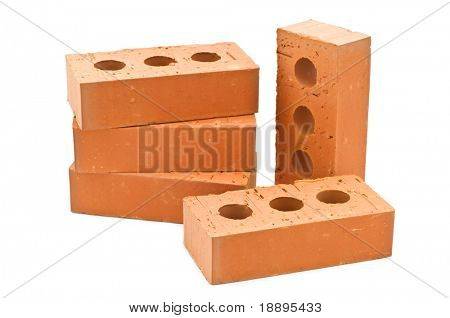 five bricks on white background