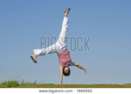 Adult Woman Doing Cartwheel