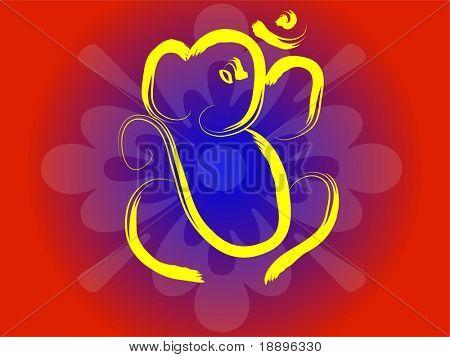 Hindu symbol OM and Ganesha on flower background