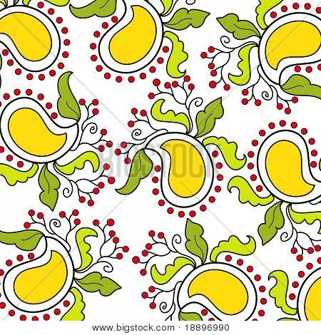 Artistic mango design with leaves