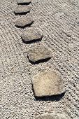 pic of stepping stones  - stone way in japanese stone garden Tokyo Japan - JPG