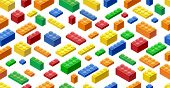 Seamless Background. Isometric Plastic Building Blocks And Tiles poster