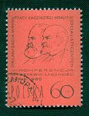 Постер, плакат: W Ленина & Маркса на польском марочных штамп