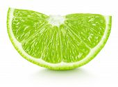 Wedge Of Green Lime Citrus Fruit Isolated On White poster
