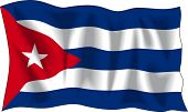Waving flag of Cuba isolated on white