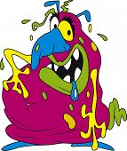 Vector illustration of ugly fat colorful bacteria