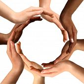 pic of diversity  - Conceptual symbol of multiracial human hands making a circle on white background with a copy space in the middle - JPG