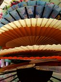 Japanese Cloth Fans At Outdoor Market