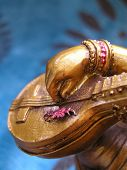 stock photo of saraswati  - detail of a statue of saraswati  - JPG