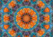 abstract graphic mandala design/background in bright blues and orange