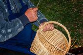 Basket-maker Creates A New Basket - Folk Art poster