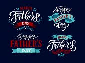 happy Fathers Day Lettering Typography On Textured Background For Postcard/card/invitation. Greeti poster