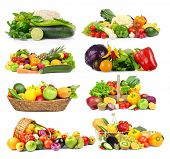 Collage of vegetables and fruits on white background poster
