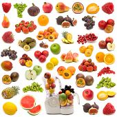stock photo of fruit-juice  - collection of fresh juicy fruits on white background - JPG