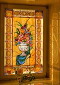 a window decorated with tiffany glass