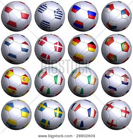 Sixteen Soccer Balls With Flags Of The 2012 European Championship Competitors