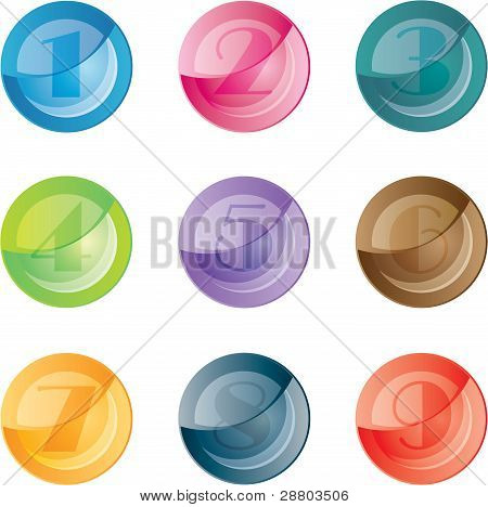 Numbered colored buttons. Vector set icons.