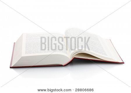 Gran libro abierto, aislado en blanco