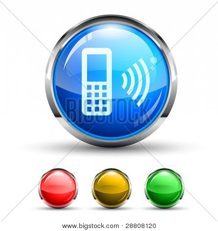 Cellular Network Cristal Glossy Button with light reflection and Cromed ring. 4 Colours included.
