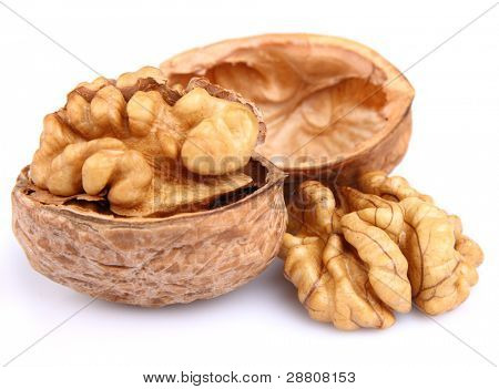 Dried walnuts in closeup. Use it for a health and nutrition concept.