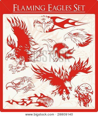 Vector set of flaming eagle illustrations, great for vehicle graphics, stickers and t-shirt decals.