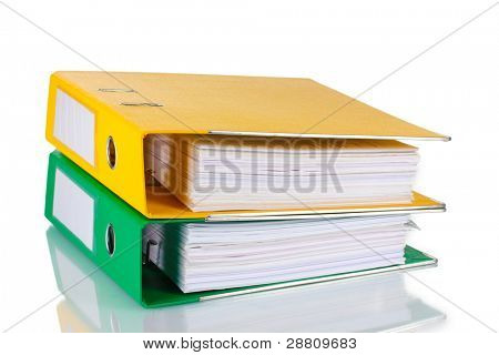Office folders isolated on white