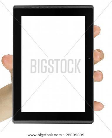 Tablet PC aislado en una mano en los fondos blancos