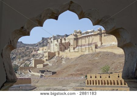 Amber Fort Framed In A Mughal Arch
