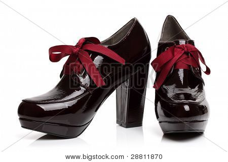 Black patent high heels platform shoes with red ribbon bow