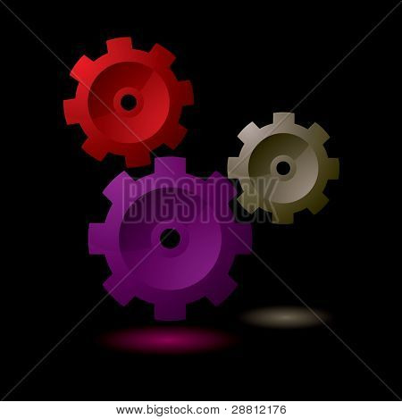 Simple gear cog symbol collection with black background