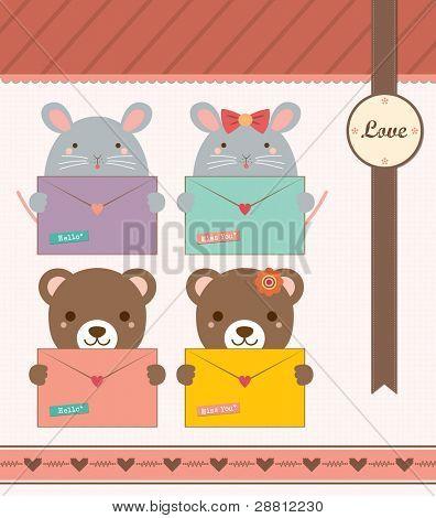 Lovely Mouse and Bear Holding Love Envelope. Valentine Notepad Design.