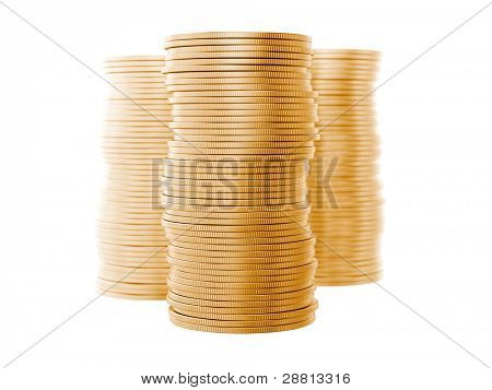 A stack of coins isolated on white background