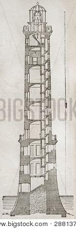 Heaux de Brehat lighthouse old section plan. By unidentified author, published on Magasin Pittoresque, Paris, 1845