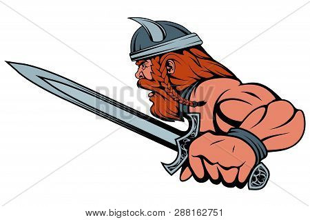 Colored Viking Warrior With A