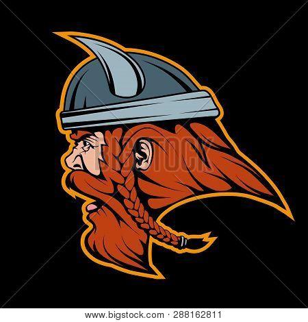 Viking Head Mascot Logo Vector