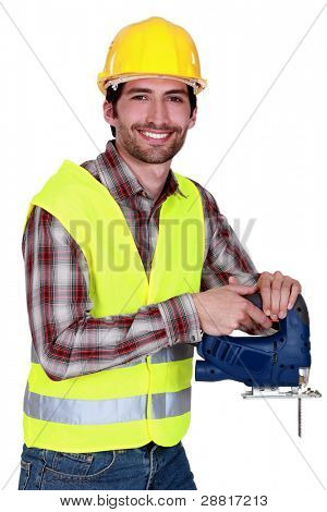 Workers with chain saw