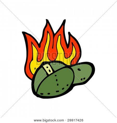 burning cap cartoon
