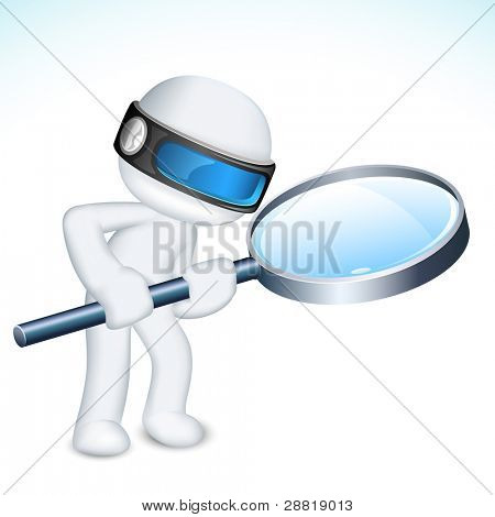 illustration of 3d man in vector fully scalable with magnifying lens