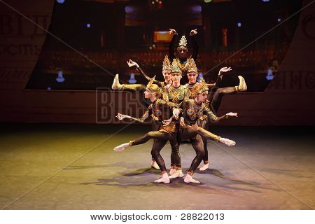 MOSCOW - MAR 17: Indian dance at concert of Gennady Ledyakh School of Classical Dance in theater Et Cetera, March 17, 2011, Moscow, Russia. Concert held for winners in competition on Russian language