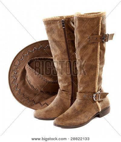 Brown leather boots and hat