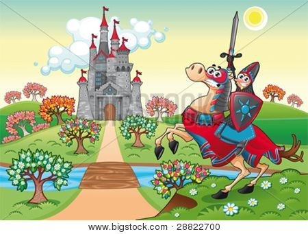 Panorama with medieval castle and knight. Cartoon and vector illustration.