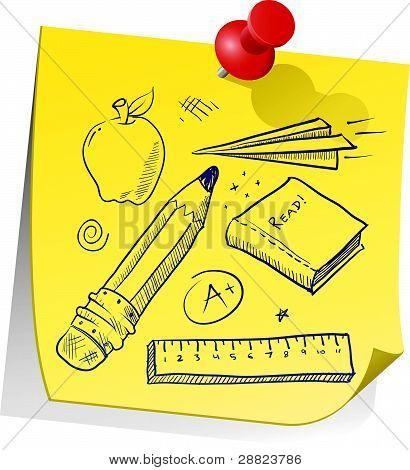 School supplies sticky note