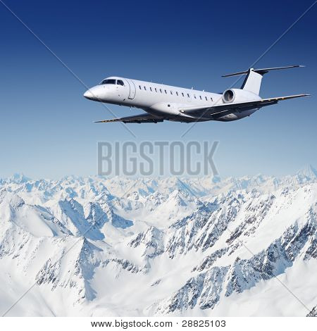 Private jet plane flying over mountains