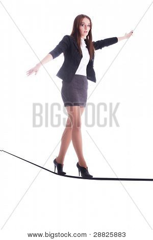 The image of girl goes like a rope-walker