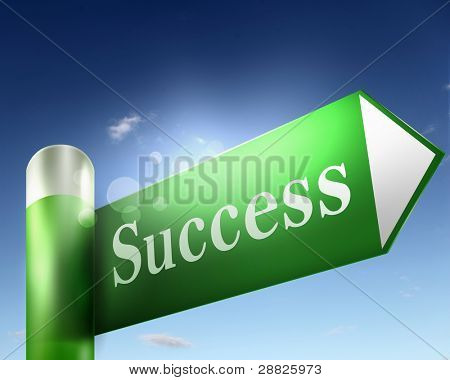 green road sign with word Success on it