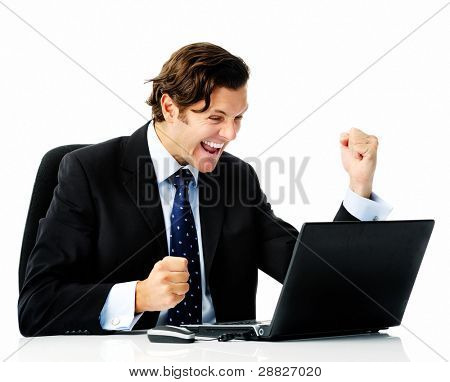 Businessman sealing his first deal and does fist pumps