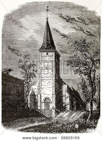 Bolleville rectory old view, France. Created by Langlois, published on Magasin Pittoresque, Paris, 1845